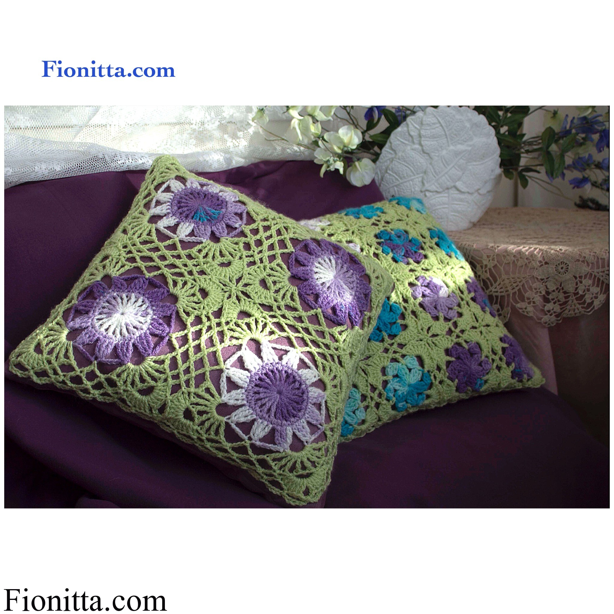 Two square crochet pillows
