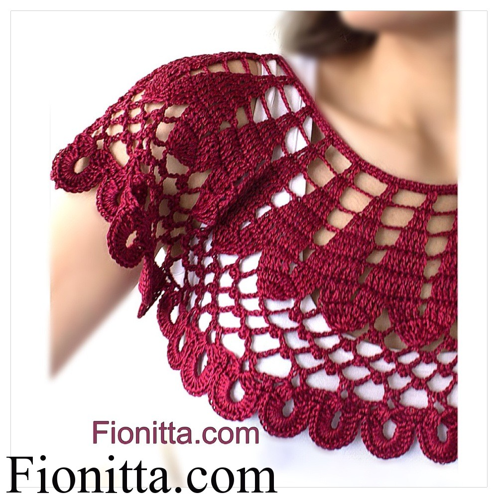 Crochet cherry collar