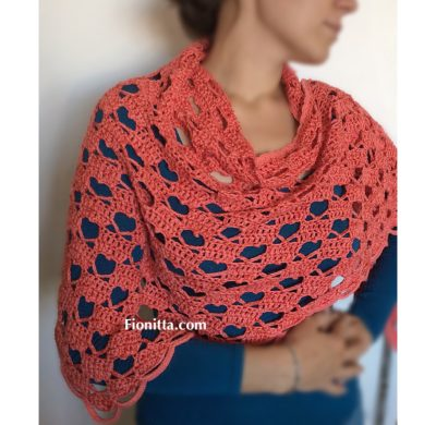 "Crochet shawl ""Hello March Shawl with hearts"" or ""A Hearty Hello"" (part 2-video)"