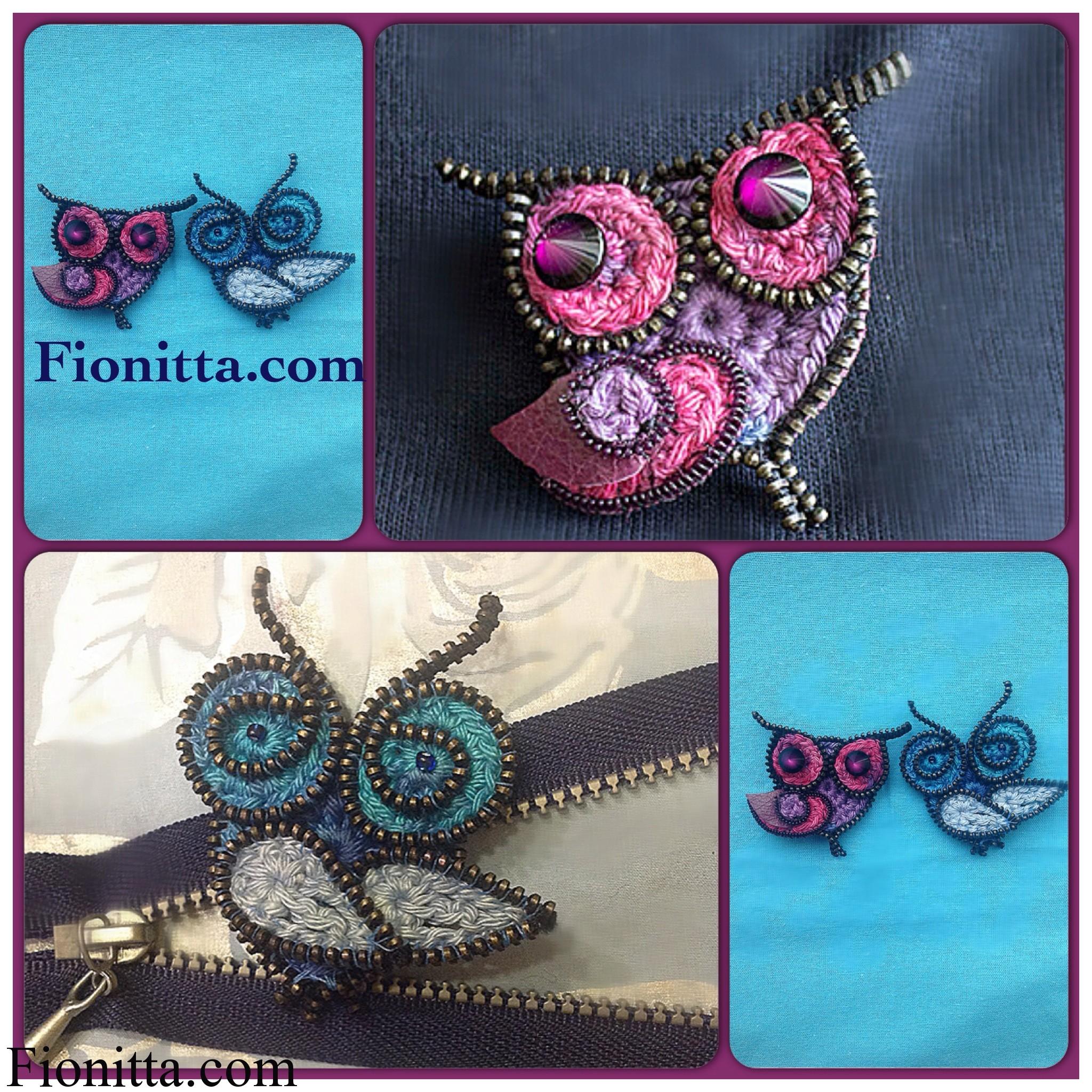 Crochet owls  using zippers